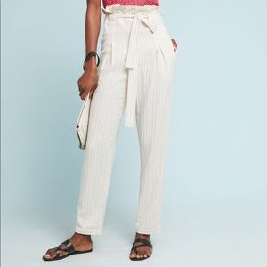 Anthropologie striped paper bag trousers